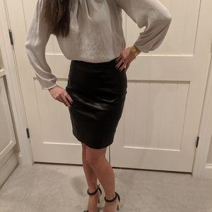 Black Leather Prada Pencil Skirt